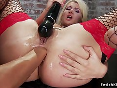Big-Bosomed blondie ass fucking fisted in oubliette