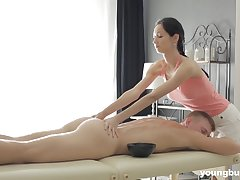 Brunette Emma L gives a massage before getting fucked together with cum sprayed