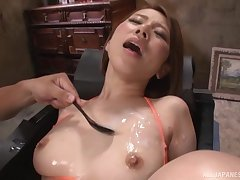 Kitagawa Eria gets say no to wet cunt pleased by say no to friend's vibrators