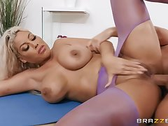Prexy yoga babe gets both of her love holes fucked hard