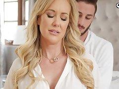 Ravishing flaxen damsel, Brandi Enjoy is impatiently fellating her step- sonnie's knob before getting plumbed