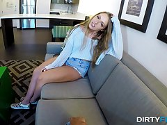 After a blowjob Ashley Red got her tight pussy fucked at the end of one's tether her friend
