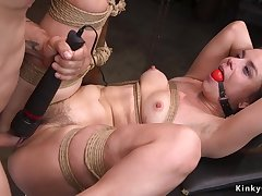 Gagged slave bootie flogged added to pussy pounded