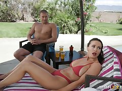 in foreign lands mad about with the addition of a blowjob are with the help of horny girl Abigail Mac