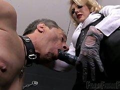 Dominant auburn slut Mistress Akella gonna narration strapon to punish dude