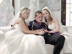 A nuptial day turns with respect to threesome with Alexis Crystal and one more bride