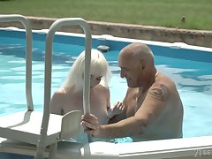 Pale dear cookie with small tits Miss Melissa rides older neighbor on top